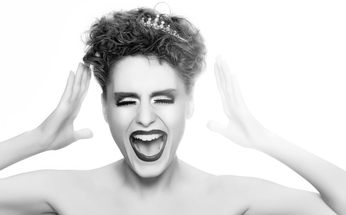 Fashion Photo of a Lady Screaming in Black in White